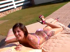 Tattooed girl anal sex outdoors