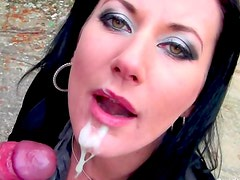 Perfectly glamorous girl sucks outdoors
