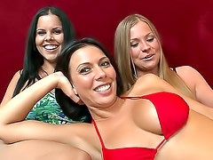 Lesbian foursome with strapon sex