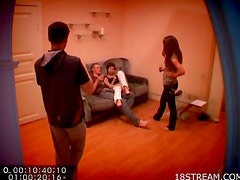 Hidden cam video of couch fucking