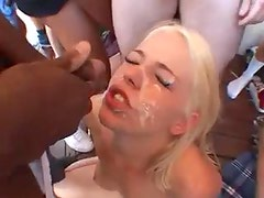 Blonde takes dozens of facial cumshots
