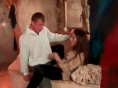 Girl in ripped pants and satin blouse fucked hard