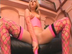 Utterly sexy blond babe Sindee Jennings masturbates wearing sizzling lingerie