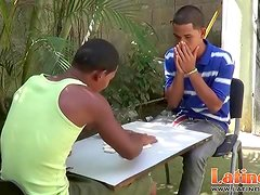Exotic twink mates play strip domino for a blowjob