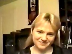 Blond girlfriend sucks and eats cum