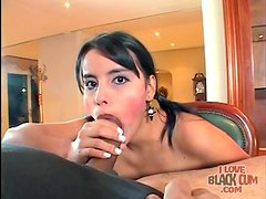Blowjob and ball sucking from a cute Latina