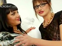 Extreme sapphic babes dildoing ass holes