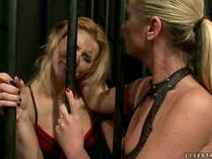Cindy Hope and Dorina Gold play BDSM games in a basement