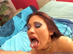 Sheila Marie fucks some lucky dude and gets cum on her cute tongue