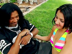 Zarreena is feeling kinda horny and naughty today with her black haired friend, showing him her