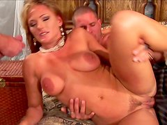 Gorgeous double penetration with a pretty blonde Venus