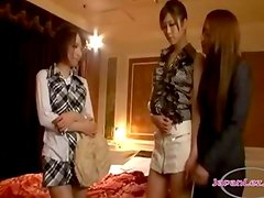 Asian Girl Getting Her Tits And Pussy Rubbed By 2 Girls In The Hotel Roo
