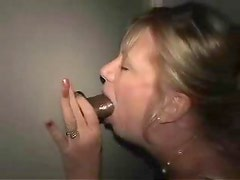 Black guy cums in milf at the gloryhole