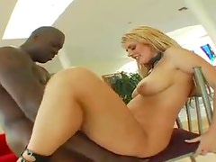 Curvy chick in leather corset loves black cock