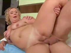 Curly hair mature and the big cock
