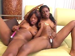 Black lesbians pussy lick and dildo play