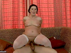 Turned on black haired mature whore with big ass in
