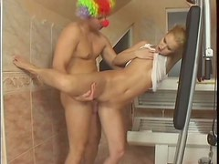 Clown facefucks his  funny girlfriend Misty Mild