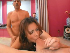 Aroused pervert watching sizzling milf Nataly Rosa getting double fucked