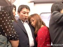 Salacious Japanese chick gets fucked in a public place