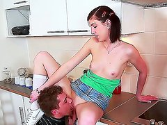 Barbra Sweet and Steve Q re having intense hardcore sex in the kitchen