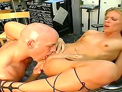 Look at awesome Derrick licking sweet pussy of dazzling blonde slut Violet