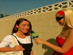 Hot reporter goes around interviewing stunning babes before getting them to expose their sexy assets