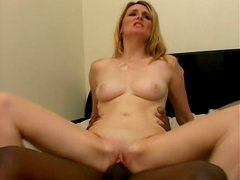 Appetizing blonde babe Ashley Anderson riding black stud