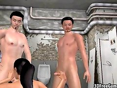 Hot 3D babe getting double teamed in the bathroom