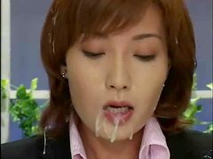 Japanese anchor gets facialed at her work place in a weird clip