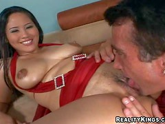 Dark haired and busty asian hottie Jessica Bangkok enjoys in