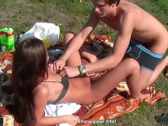 Cute girl Abbey is having passionate sex at the picnic party