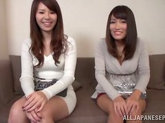 Two curvy Japanese girls show their cock-sucking skills to their BFs
