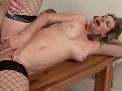 Slippery shaved box mature in fishnets fucked