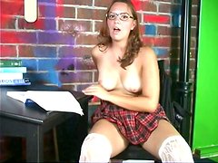 Nasty student in glasses gonna relax by tickling her wet pussy for joy