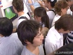 Horny Anna Anjo gets fucked and facialed in a metro train