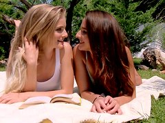 Two cuties have gone for a picnic to eat each other