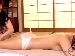 Asian Girl Massaged With Oil Getting Her Pussy Rubbed On The Mattress In The Roo