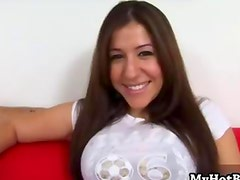 Alexia Milano takes off her bra and lets you see h