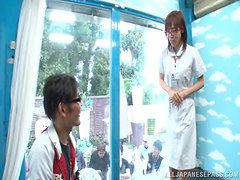 Horny Japanese couple has sex while people are watching