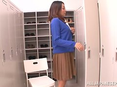 Japanese milf Miku Sunohara blows and gets her vag toyed