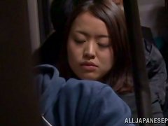 Slim Momo Ogura gets fucked reverse cowgirl in a bus