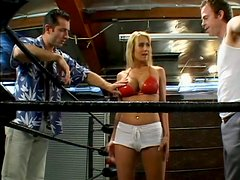 Lightweight boxing champ Trina Michaels tastes two cocks like candies