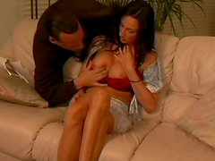 Zealous busty brunette Rhiannon Bray gets cunnilingus as a repay for blowjob