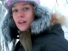 Take a look at this beautiful clothed girl Blue Angel fooling around outdoor in snow
