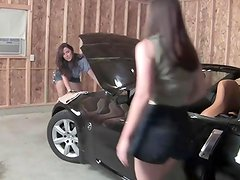 Lesbian garage mechanics tie up female customer