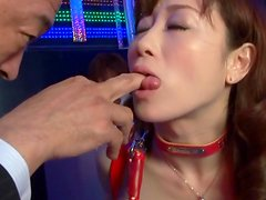 Slutty Japanese chick in red latex gets fucked and facialed
