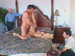 Blonde hottie Rhyse Richards with well-matured boobies gets her pussy screwed by a huge prick
