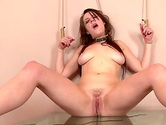 Dirty slut chick Samantha sits on the glass table and pees