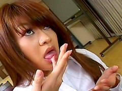 Alluring babe Nagisa Sasaki is getting dick in her mouth